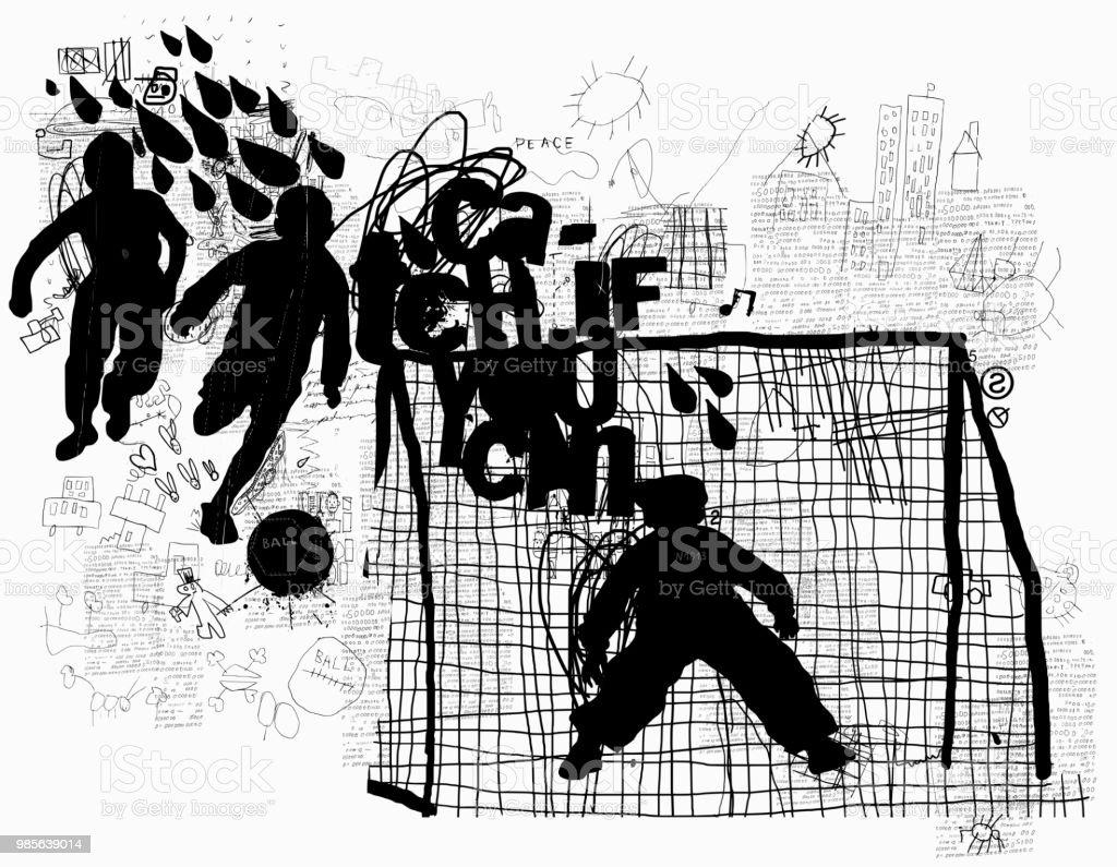 Street football vector art illustration