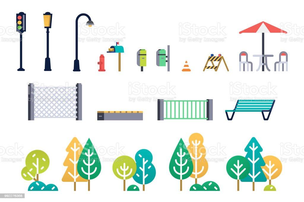Ilustración De Set De Mobiliario Urbano Y árboles Y Más