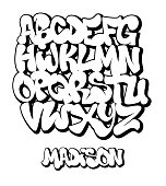 Street Graffiti Font, handwritten Typography vector illustration