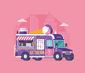 Retro ice cream van in flat design. City street food car. Summer kitchen auto kiosk vector illustration. Cartoon ice-cream truck illustration. Vintage cartoon minivan with frozen sweets.
