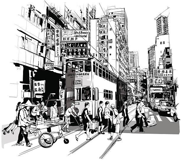 illustrazioni stock, clip art, cartoni animati e icone di tendenza di strada hong kong - hong kong
