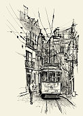 Street in Lisbon - vector illustration (Ideal for printing on fabric or paper, poster or wallpaper, house decoration)