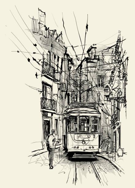 ulica w lizbonie - lizbona stock illustrations