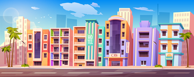Street in Miami with buildings, hotels, road and palm trees. Vector cartoon tropical landscape with buildings in resort city. Summer cityscape with vintage motel, restaurant and modern skyscrapers