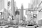 Illustration of a street in New York city