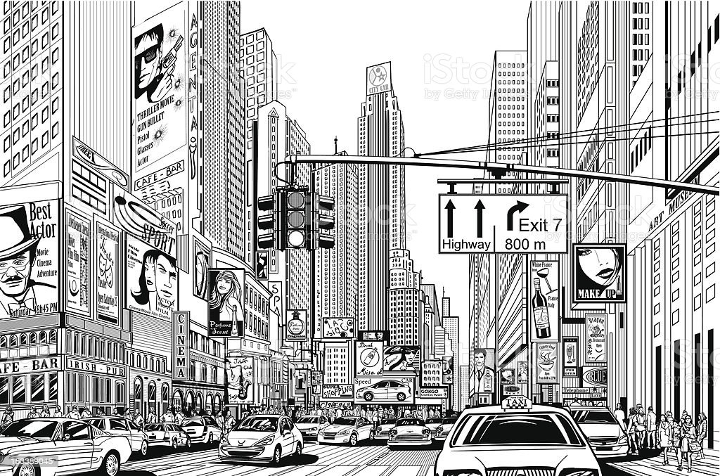 street in New York city vector art illustration