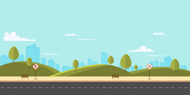 ilustrações de stock, clip art, desenhos animados e ícones de street in public park with nature landscape and building background vector illustration.main street scene with public sign vector.city street with sky background - road