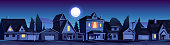 istock Street in suburb district with houses at night 1266146603