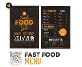 Street junk food festival menu cover design. Festival Design template with hand-drawn graphic elements and lettering. Vector menu board