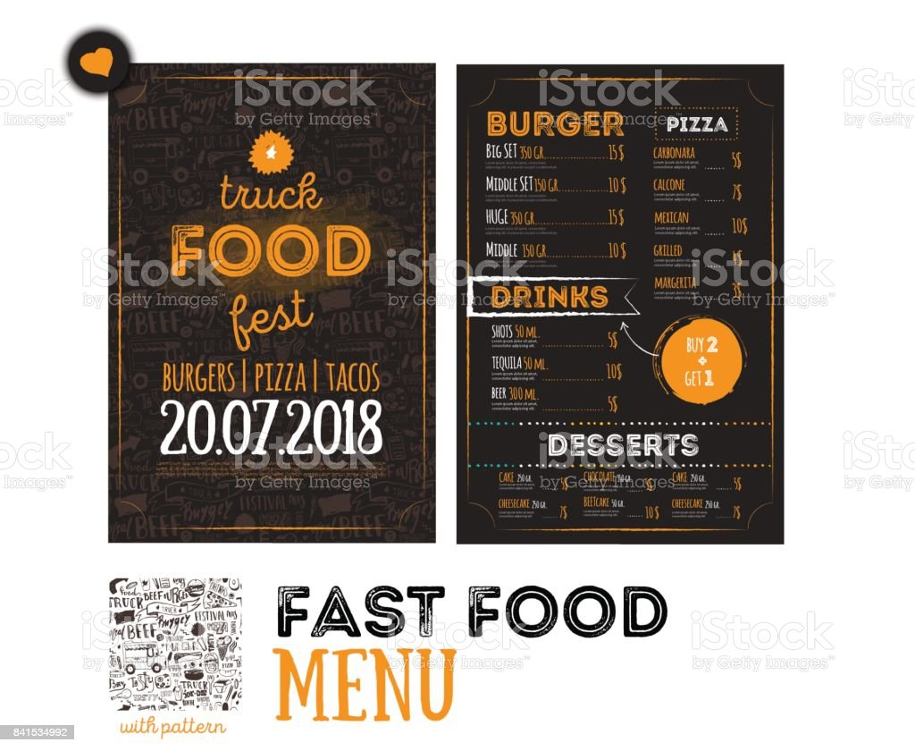 Street junk food festival menu cover design. Festival Design template with hand-drawn graphic elements and lettering. Vector menu board. vector art illustration