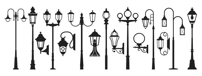 Street lamp black silhouette, post lights outdoor silhouette set