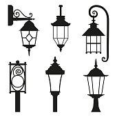 Street lamp black silhouette set isolated on white background. Vector flat illustration can be used as sticker, badge, sign, stamp, icon, banner, icon or label.