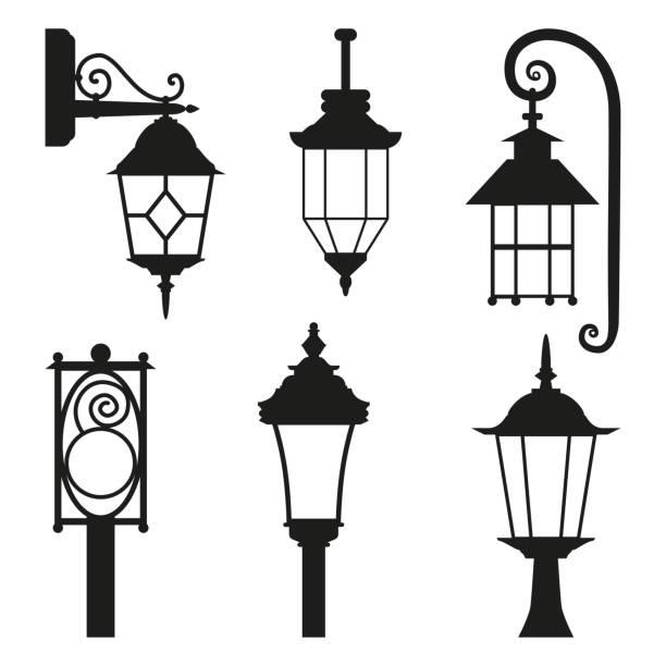 straßenlaterne, die schwarze silhouette satz isoliert auf weißem hintergrund. - citylight stock-grafiken, -clipart, -cartoons und -symbole