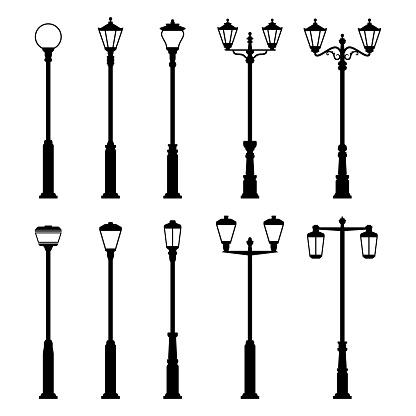 Street Lamp Lights Vector Icons