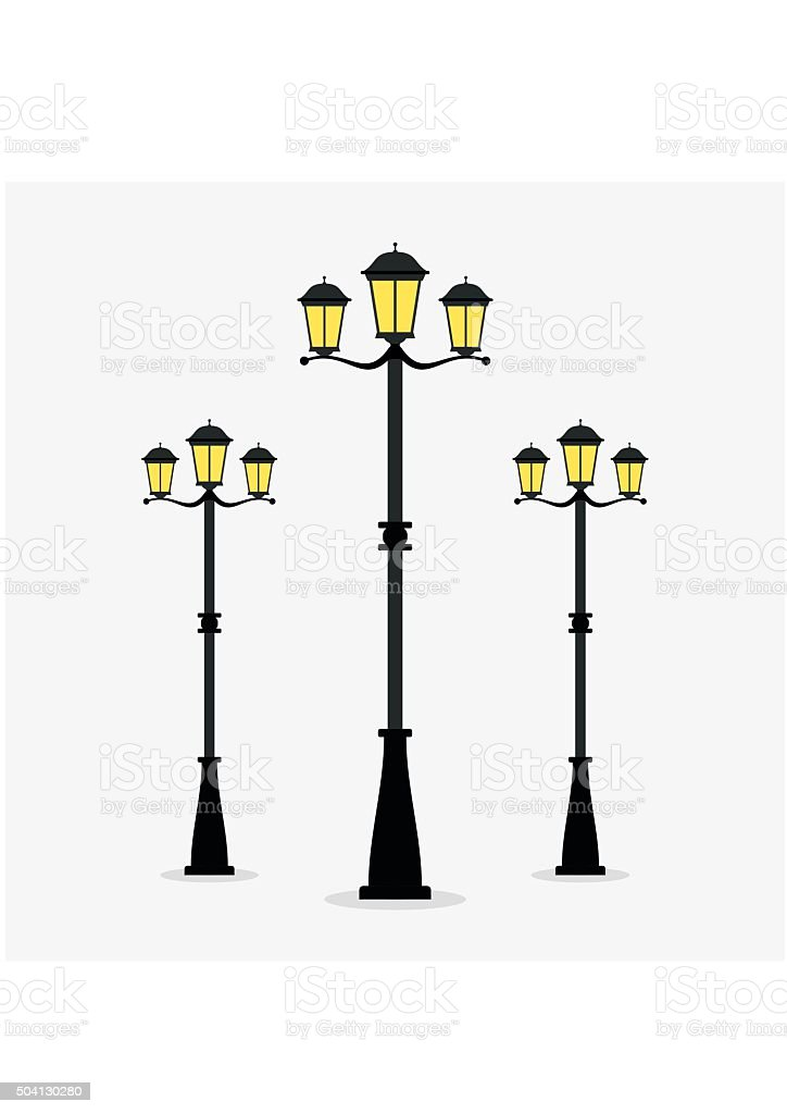 Street Lamp Post On Gray Background. Royalty Free Street Lamp Post On Gray  Background