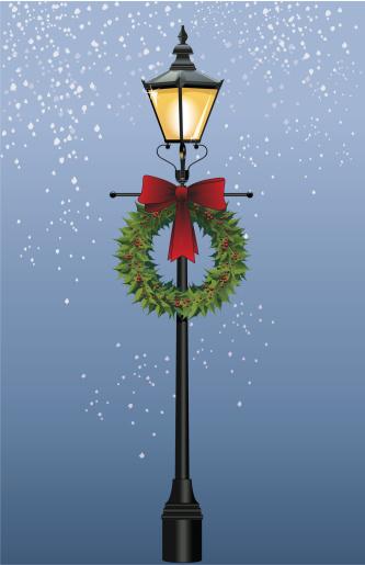 Street Lamp with Wreath (Vector)