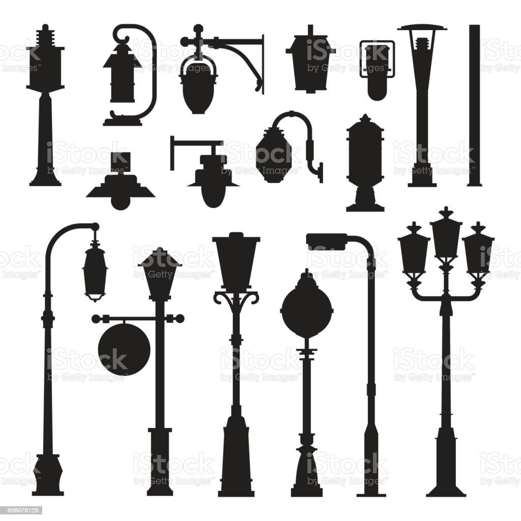 Street Lamps and Lamp Posts Icons vector art illustration