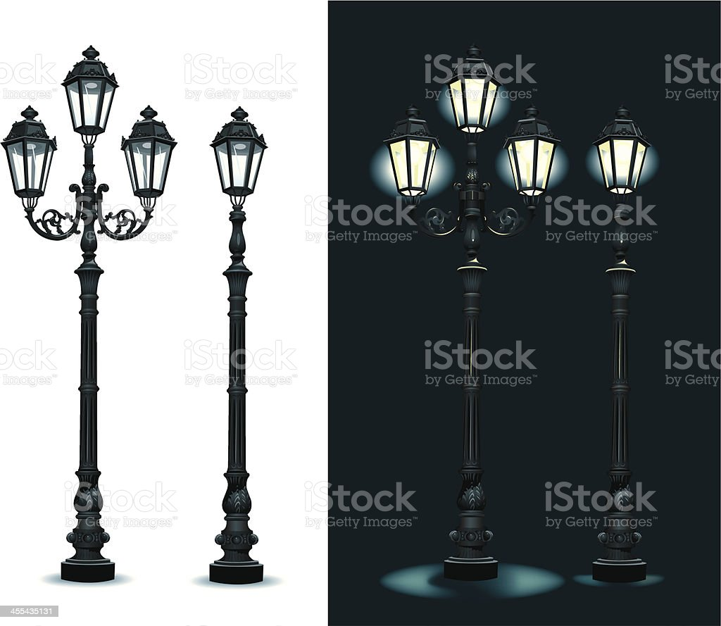 Street Lamps - Lighting Equipment vector art illustration
