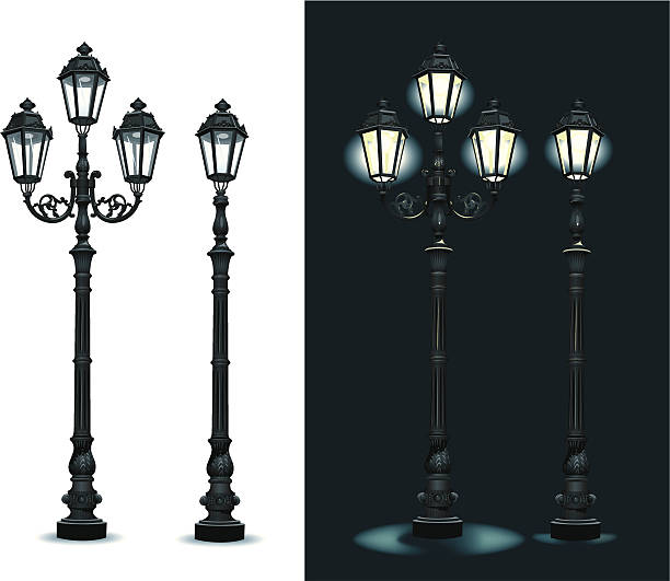 stockillustraties, clipart, cartoons en iconen met street lamps - lighting equipment - straatlamp
