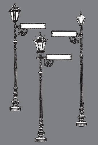 Street Lamps with Sign