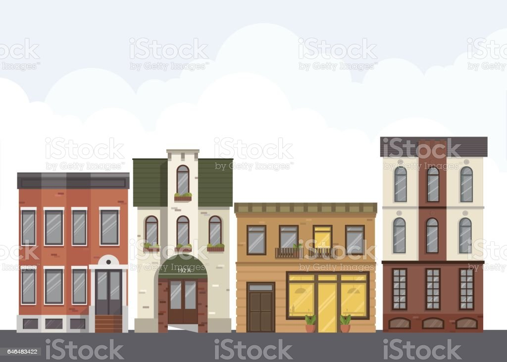 Street landscape. City street with urban buildings,apartment , shops, houses in flat style. vector art illustration