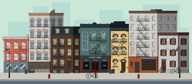 Street landscape with apartment buildings, shops and bars. Flat vector illustration.