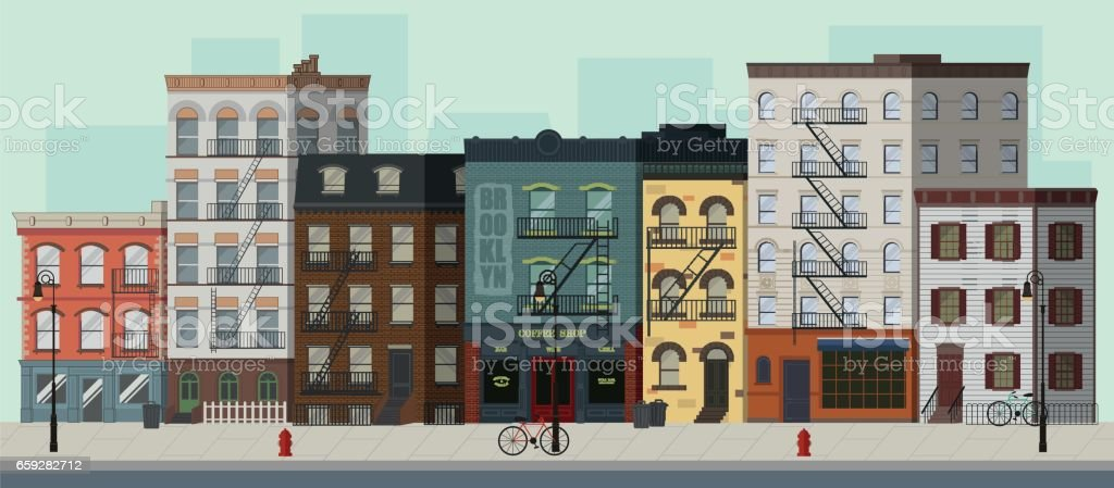 Street landscape with apartment buildings, shops and bars. Flat vector illustration. vector art illustration
