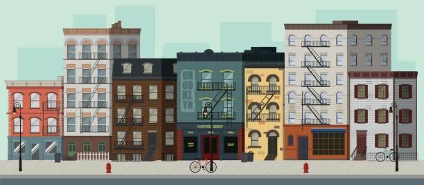 illustrazioni stock, clip art, cartoni animati e icone di tendenza di street landscape with apartment buildings, shops and bars. flat vector illustration. - appartamento