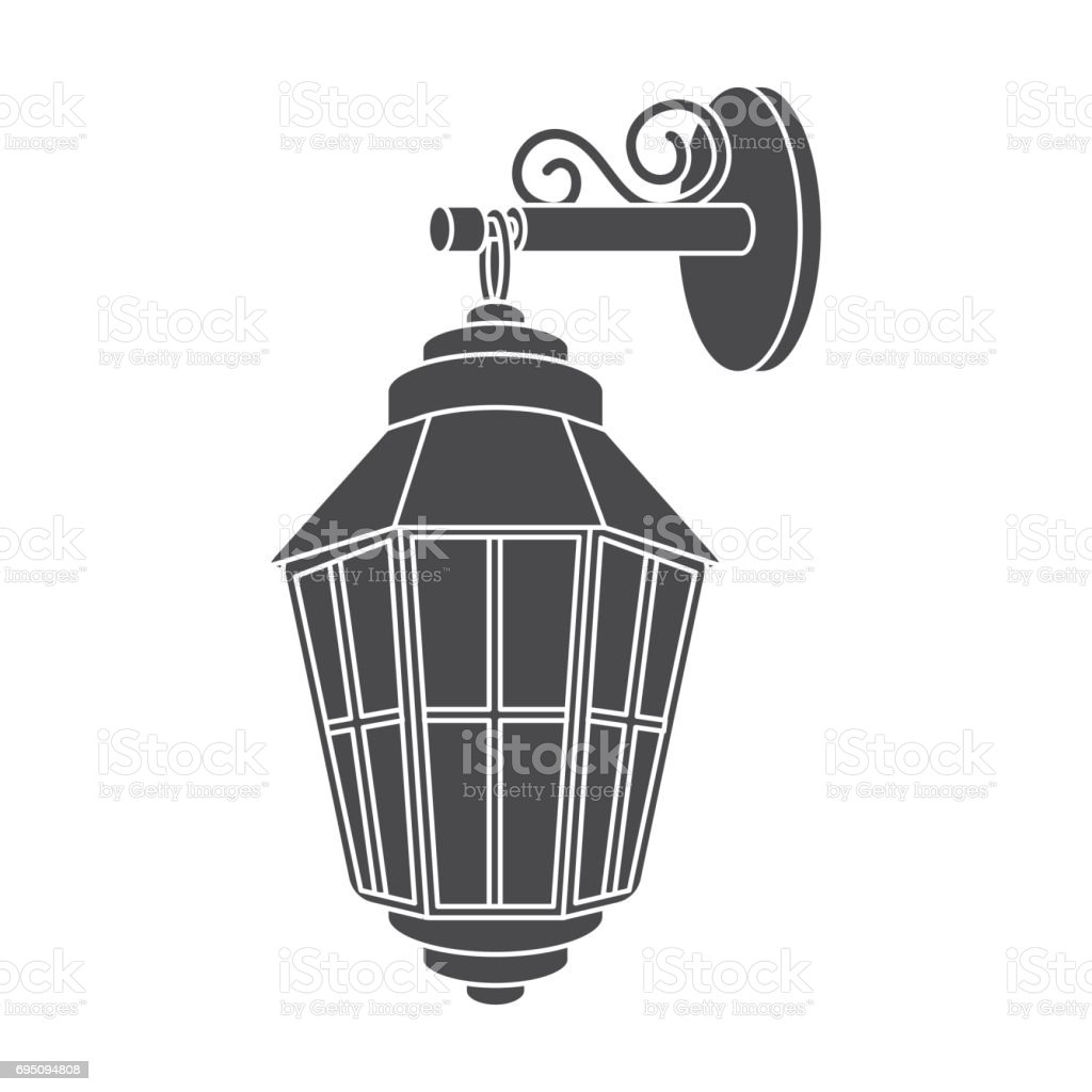 Street lantern icon in black style isolated on white background. Light source symbol stock vector illustration vector art illustration