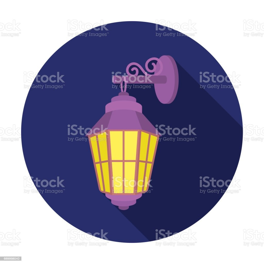 Street lantern icon in flat style isolated on white background. Light source symbol stock vector illustration vector art illustration