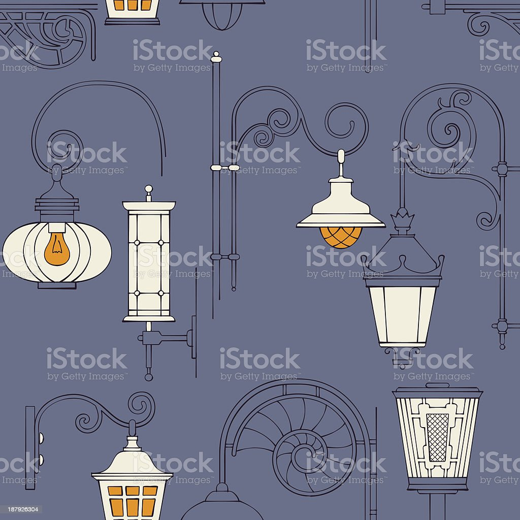 Street lantern seamless pattern royalty-free street lantern seamless pattern stock vector art & more images of backgrounds
