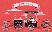 Street life with coffee and ice cream bicycle carts illustration