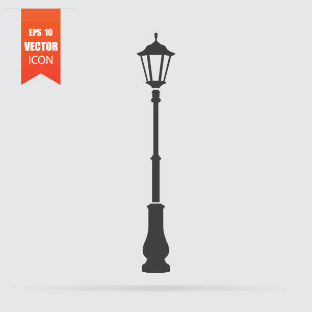 stockillustraties, clipart, cartoons en iconen met straat licht pictogram in vlakke stijl geïsoleerd op een grijze achtergrond. - straatlamp