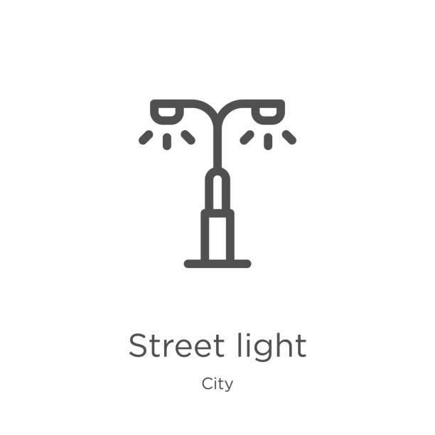 straßenbeleuchtung icon-vektor aus der stadtsammlung. dünne linie straßenbeleuchtung icon-vektordarstellung. skizze, dünnes straßenlicht-symbol für website-design und mobile, app-entwicklung. - citylight stock-grafiken, -clipart, -cartoons und -symbole