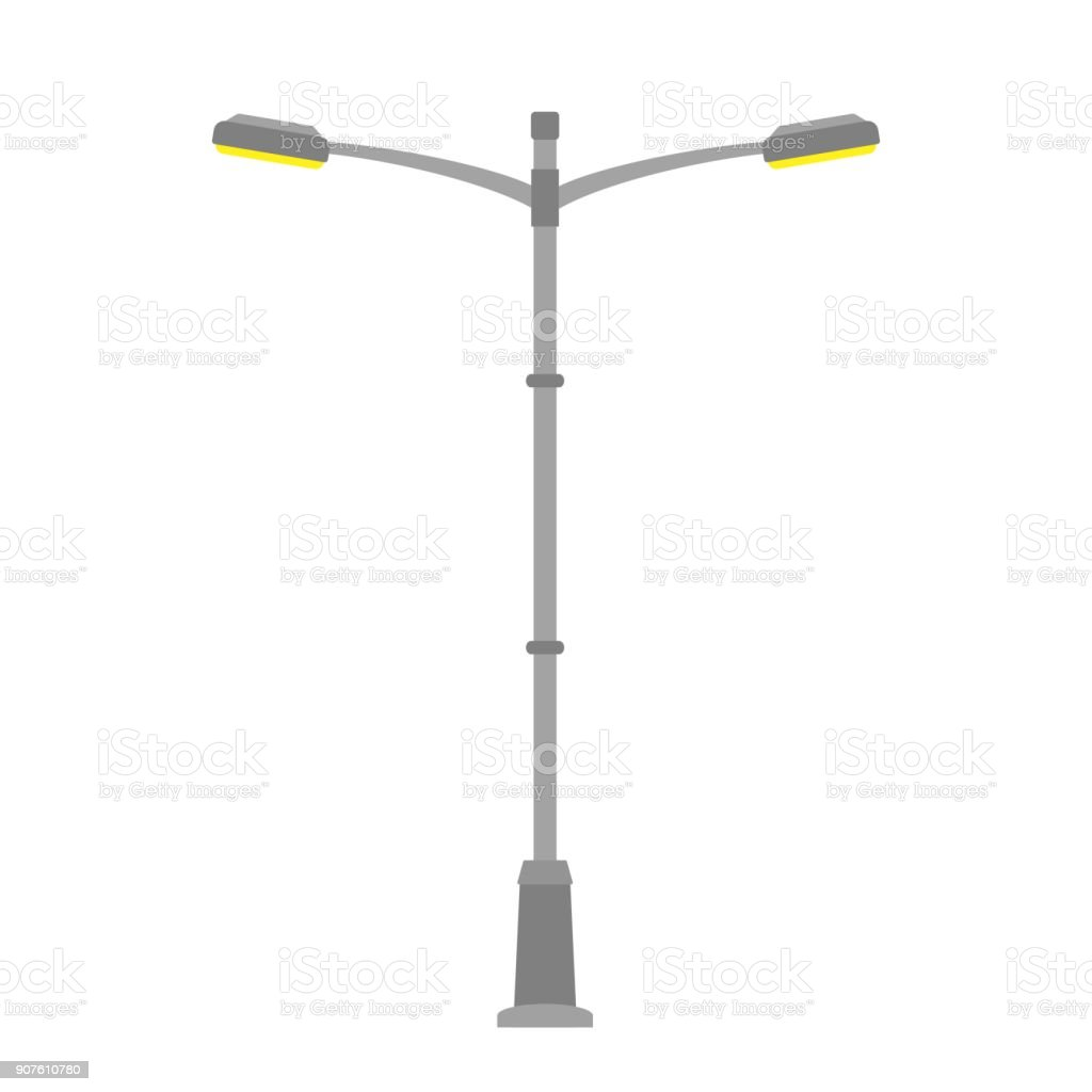 Street Light Isolated On White Background Outdoor Lamp