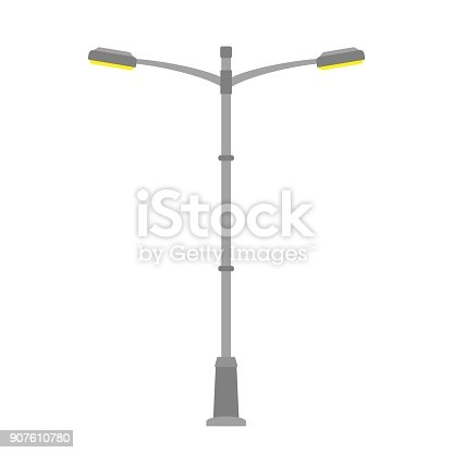 Street Light Isolated On White Background Outdoor Lamp ...