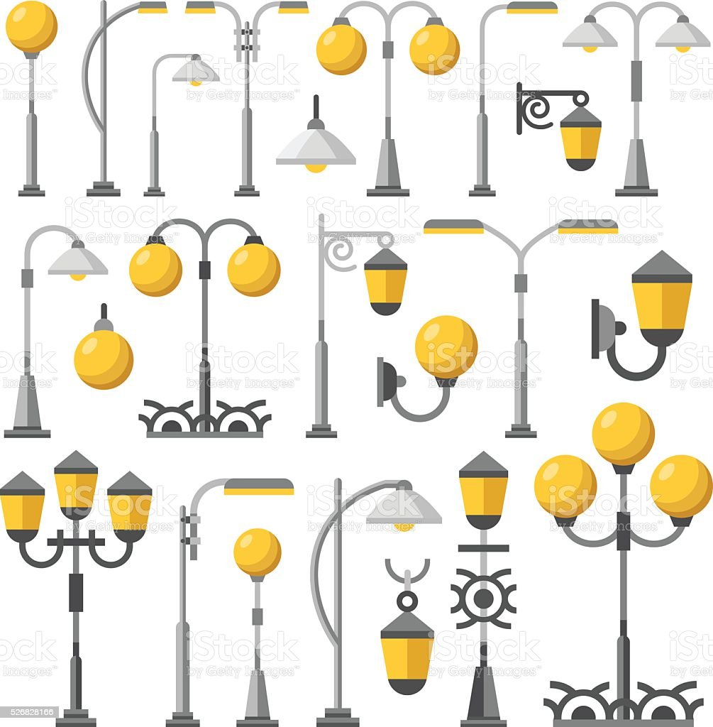 Street light set. Outdoor post lights, street lanterns, city elements vector art illustration