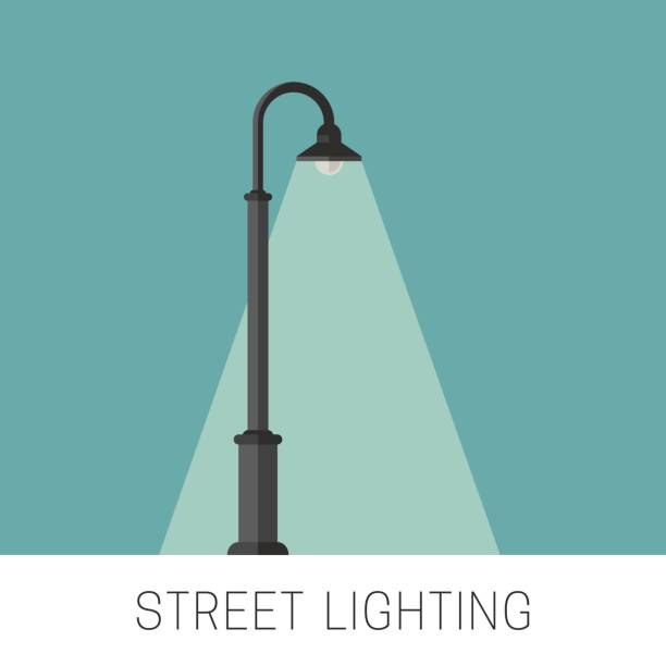 stockillustraties, clipart, cartoons en iconen met straatverlichting banner - straatlamp