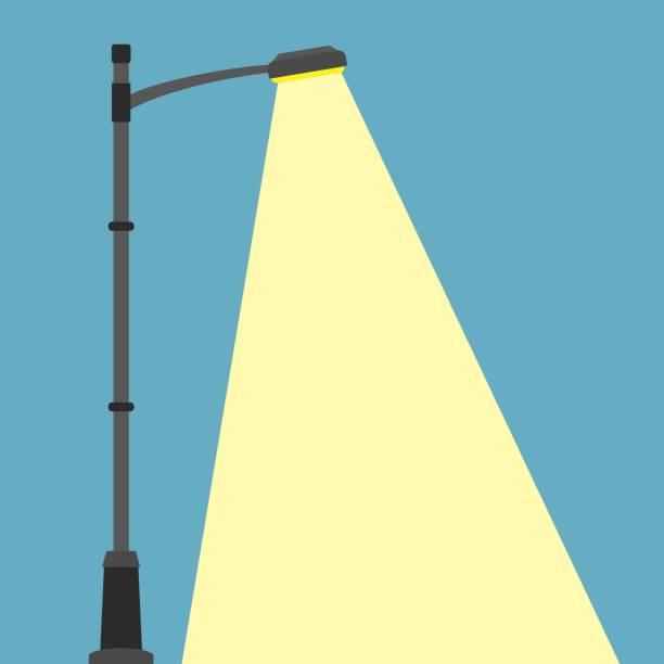 straßenbeleuchtung flache banner. city nacht straßenlaterne mit licht straßenlaterne lampe. im freien laternenpfahl in flachen stil. spotlight - citylight stock-grafiken, -clipart, -cartoons und -symbole