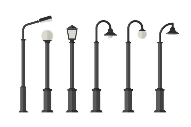 stockillustraties, clipart, cartoons en iconen met straatverlichting plat pictogrammen - straatlamp