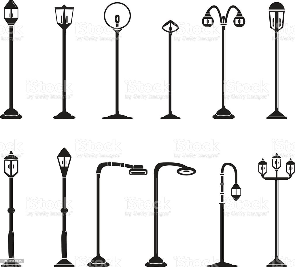 Street lights and lamps set vector art illustration