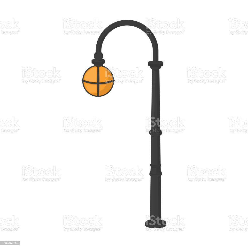 Lampadaires En Style Retro Lampadaire Simple Icone Dans Cartoon