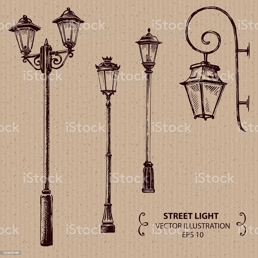 Street lights vector art illustration