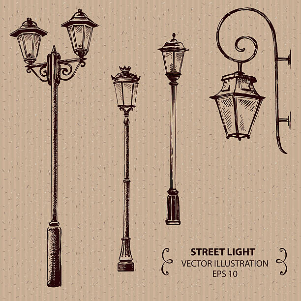 stockillustraties, clipart, cartoons en iconen met street lights - straatlamp