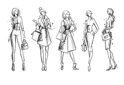 Street look. Fashion illustration, vector sketch clipart