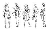 街を見て。ファッション イラスト、ベクター スケッチ