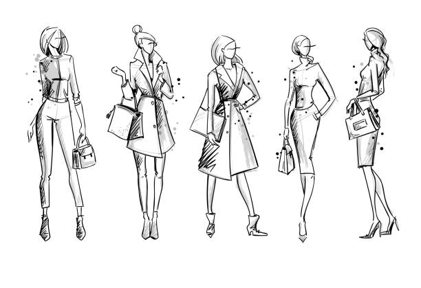 stockillustraties, clipart, cartoons en iconen met straat kijken. mode illustratie vector schets - fashion