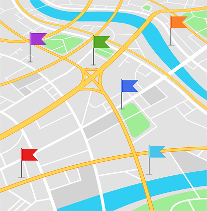 Street map with colored flags.