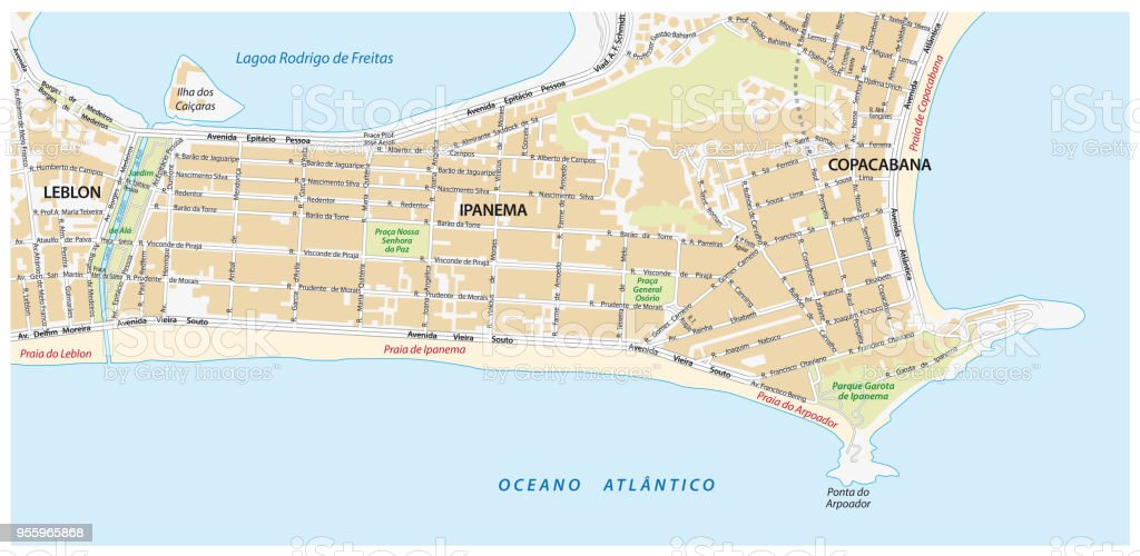 Street Map With Names Of The Ipanema District Rio De Janeiro Stock ...