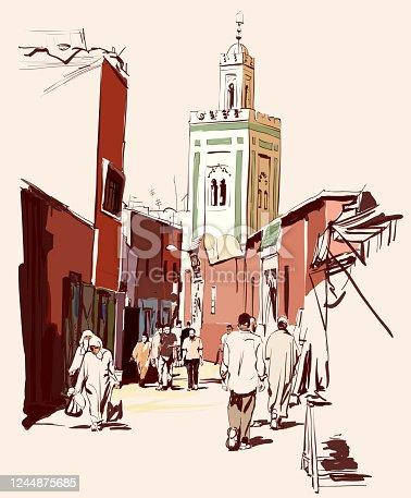istock Street market in Marrakech, Morocco 1244875685